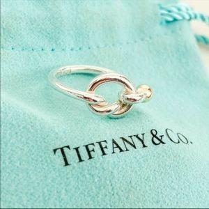 💕💕 Tiffany & Co. 18K Gold Ball/SS Knot ring